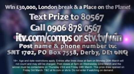 Saturday Night Takeaway Competition Prize Draw £30,000 & Disney trip