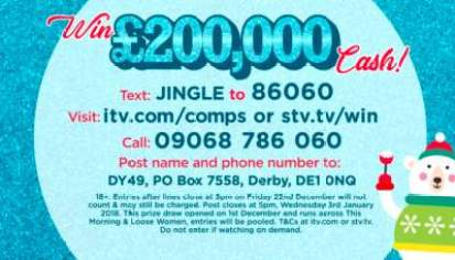 Loose Women £200,000 competition prize draw entry details.