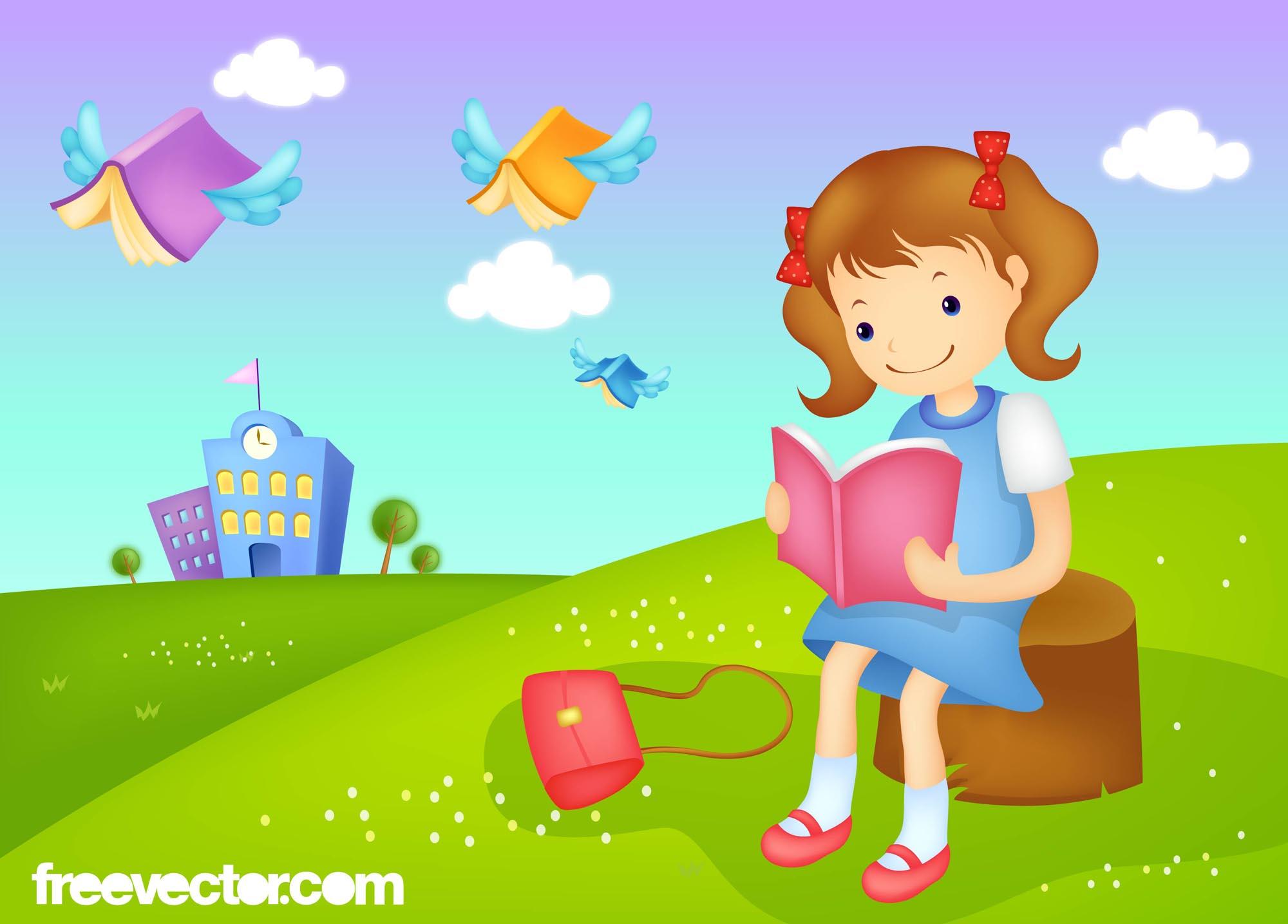 Reading Girl Vector Vector Art & Graphics