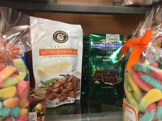 I love to look at the snack aisle. They have the most interesting treats. Pictured here are gummy worms, buttercream pecans, and Ghiardelli dark chocolate. (Photo by Kristin Guglietti)