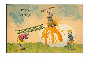 vintage-Easter-greetings-strange-kids-giant-raw-egg