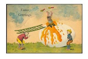 vintage-Easter-greetings-strange-kids-giant-raw-egg