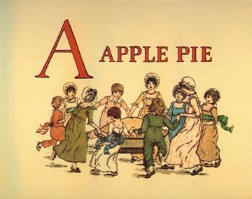 Children dancing around a giant apple pie. Vintage childrens book illustration.