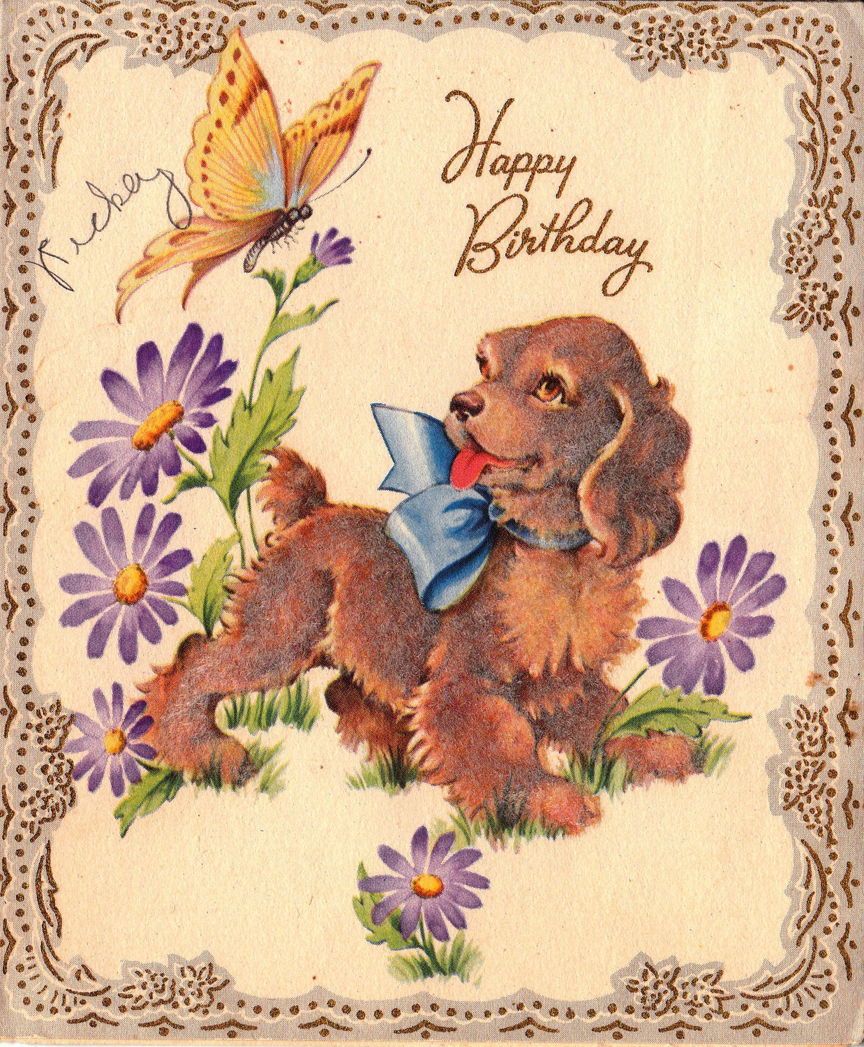 A free vintage happy birthday greeting with puppy