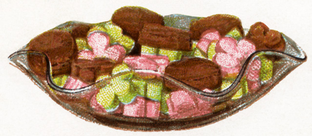 This free vintage images features a classic bowl of candy.