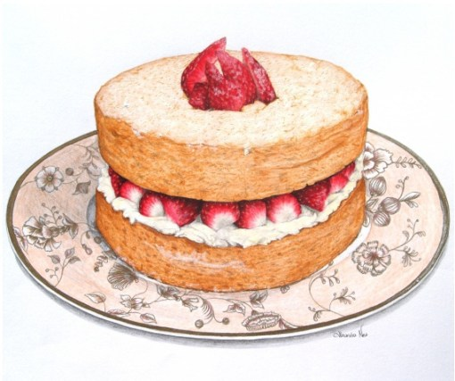 An antique illustration of a classic strawberry shortcake