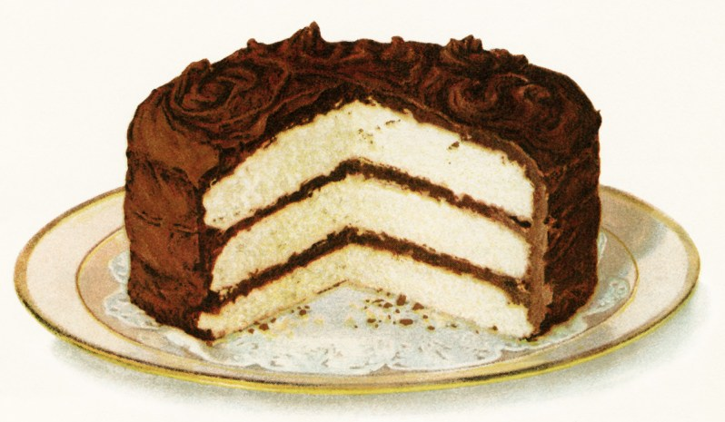 A delicious vintage illustration featuring white layer cake and chocolate frosting.