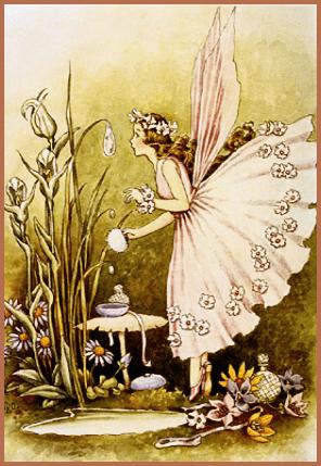 a vintage fairy in her flowering homestead