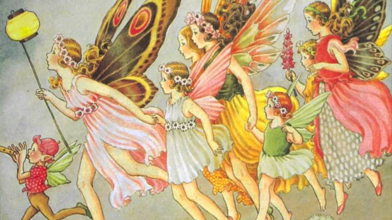 A beautiful vintage illustration of a group of fairies.  Public domain print