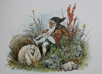 Public domain vintage print Gnome with long beard