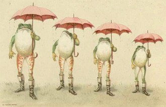 A unique vintage illustration of frogs holding umbrellas.