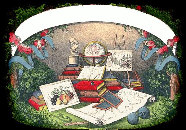 a colorful vintage image of antique school supplies