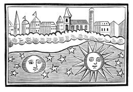 An antique celestial woodcut