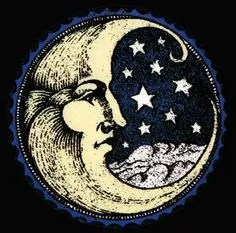 classic vintage crescent moon woodcut
