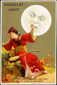free vintage illustration moon woman ad