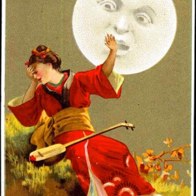 vintage woman in red with moon