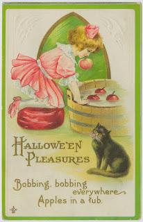 public domain vintage halloween bobbing for apples