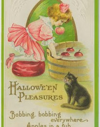 public domain vintage halloween bobbing for apples