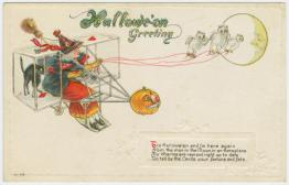 public domain vintage halloween card bizarre contraption and witch