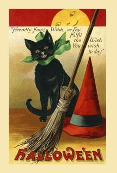 public domain vintage halloween postcard black cat 1