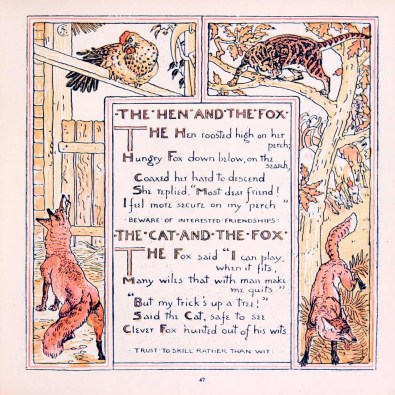 public domain hen fox aesop illustrations vintage childrens books