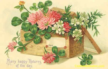 public domain vintage birthday card victorian box of flowers and leaves