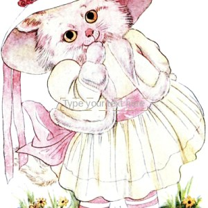 public domain vintage antique illustration of a white cat in dress from bizarre old childrens book