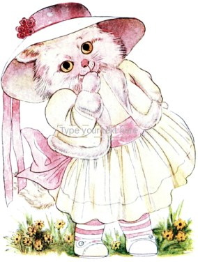 public domain vintage childrens book illustration animal children kitten girl