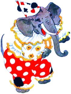 public domain vintage childrens book illustration animal elephant clown