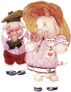 public domain vintage antique illustration of two anthropomorphic pigs