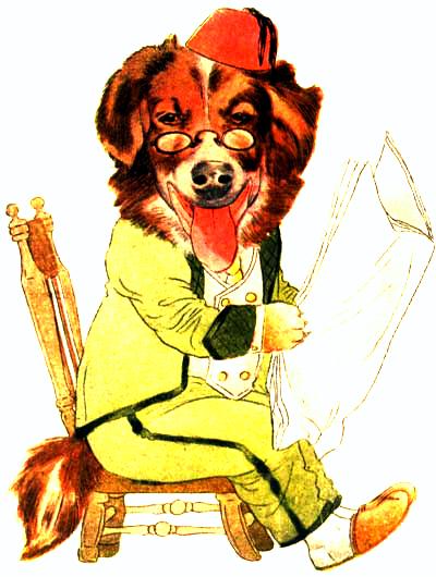 public domain vintage antique childrens book illustration of dog reading newspaper