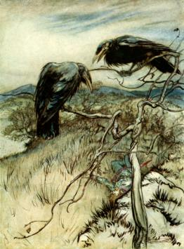 public domain vintage childrens book illustration Arthur Rackham ravens british ballad