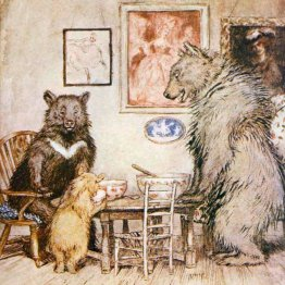 public domain vintage childrens book illustration Arthur Rackham three bears