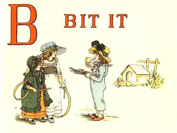 Free public domain vintage children's book illustration from Apple Pie by Kate Greenaway. Letter B. Antique Alphabet book.