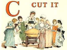 Free public domain vintage children's book illustration from Apple Pie by Kate Greenaway. Letter C. Antique Alphabet book.