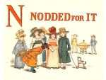 Free public domain vintage children's book illustration from Apple Pie by Kate Greenaway. Letter n. Antique Alphabet book.