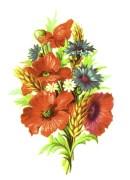 public domain vintage clipart floral bouquet with wheat wildflowers