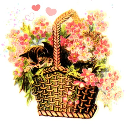 vintage clipart of kitten in a basket of flowers with hearts