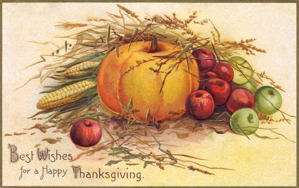 A free vintage thanksgiving food illustration in the public domain