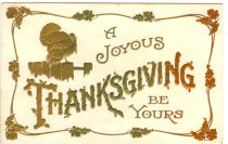 A free vintage thanksgiving postcard illustration in the public domain