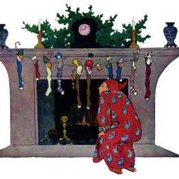 A public domain vintage illustration of Christmas Chimney from Twas the Night Before Christmas