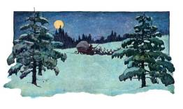 A public domain vintage illustration of a snowy winter scene from Twas the Night Before Christmas