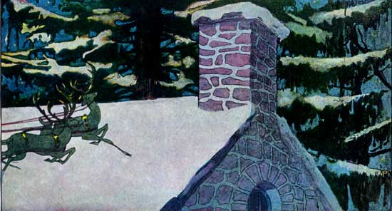A public domain vintage illustration of a snowy rooftop from Twas the Night before Christmas