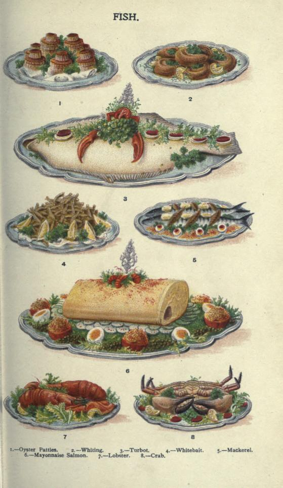 A free public domain vintage illustration of seafood platter