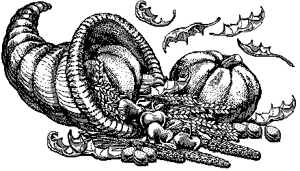 A classic vintage thanksgiving cornucopia illustration in the public domain
