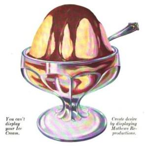 A free vintage illustration of ice cream hot fudge sundae from antique magazine