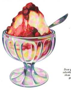 A free vintage advertisement of a strawberry ice cream sundae