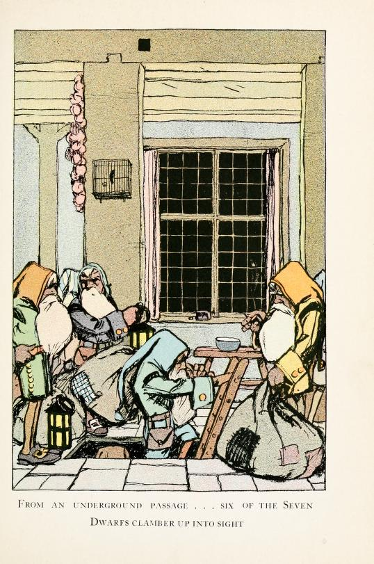 A public domain vintage book illustration of the seven dwarves from 1913 version of Snow White