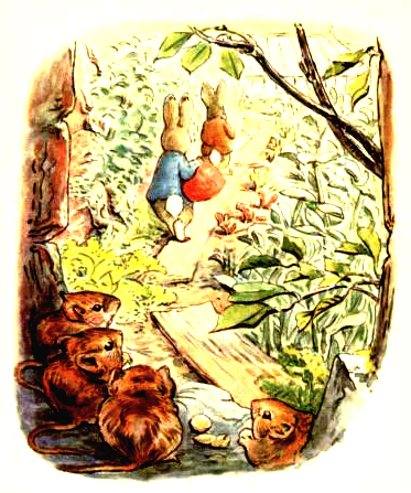 This is a free vintage easter illustration of Beatrix Potter's Benjamin Bunny