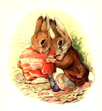 This is a free vintage easter illustration of benjamin bunny from the 1904 Beatrix Potter classic